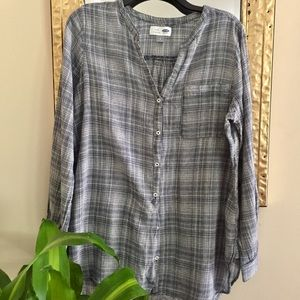 Old Navy Blue & Gray Plaid Tunic Size Large